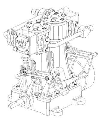 Moteur à vapeur bi-cylindres JLS 130-2